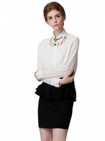New Type Stand Neck Beads Hollow Designer Blouses