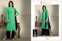New Bottom Velvet Designer Nice Embroidered work Dark Green suit