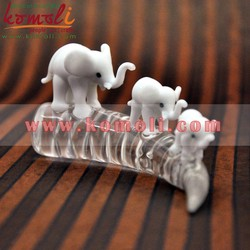 Lampwork - Flameworking Tiny Decorative Glass Elephant Family - Crystal Home Decor Souvenir Elephant