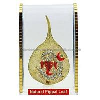 Brass Om Ganesha On Peepal Leaf Gift Decor Car Dashboard Decorative Office Table