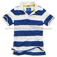 mens polo collar striped t shirt with customized design