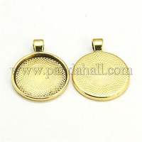Antique Golden Tone Alloy Pendant Blank Base Settings for Cameo Cabochons X-PALLOY-A15654-AG-NF