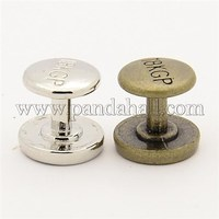 Alloy Cabochon Settings, Barbell, Mixed Color, Tray: about 9mm in diameter; 10.5x10.5mm PALLOY-N0002-06