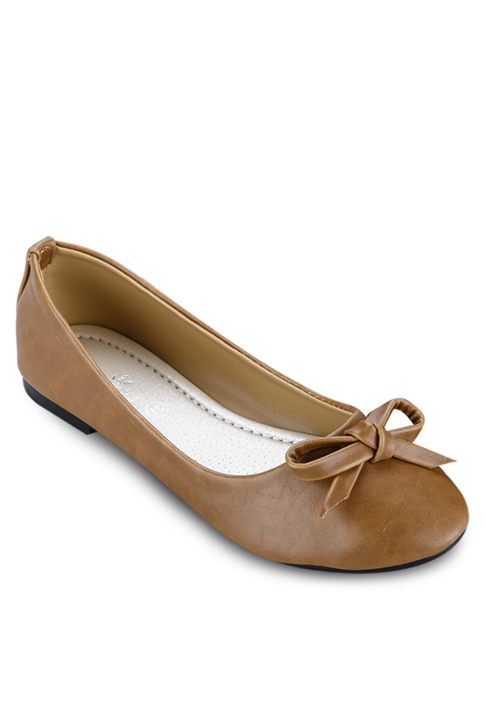 brown ribbon ballerina casual shoes shoes wholesale
