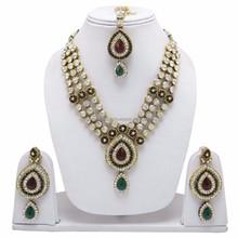 Ethnic Indian Bridal Jewellry Goldtone Bollywood Kundan Jewelry Necklace Sets