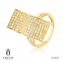 115413 Wave ring inlaid - Wholesale Gold Jewellery, Gold Jewellery Manufacturer, CZ Cubic Zircon AAA