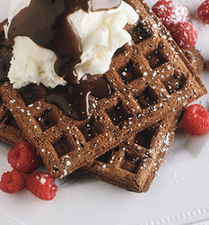 Low fat modified starch for waffles