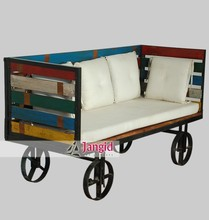 Reclaimed wooden vintage industrial sofa with wheel furniture designs