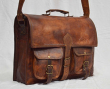 Real Leather Vintage Brown bag Handmade Laptop Bag Satchel Sling Messenger Bag From India