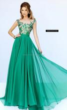 Summer Pageant Elegant Floor Length Beaded Sequine Zari Work Hot Green Fashionable High Fashion Women Ball Gown Evening Dress