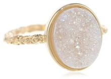Buy Wholesale 12x8 mm Oval Opal White Drusy Rings only for ladies direct from manufacturing