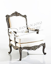 Italian design royal white and black antique European baroque leather living room solid wood leisure chair
