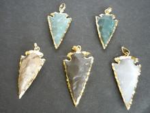 Gold Plated Jasper Gemstone Arrowhead Pendant