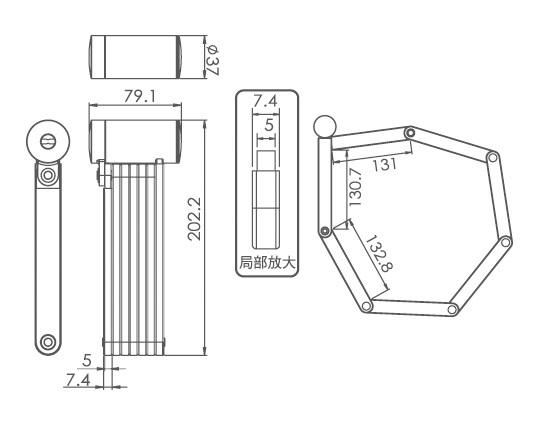 FL-511 W/BRACKET _ Bicycle lock_ FOLDING LOCK