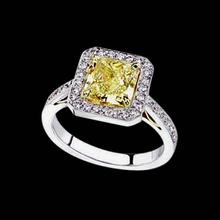 3 carat Yellow Canary diamond engagement ring two tone gold ring