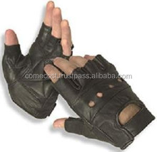 Weight Lifting Gloves Half Finger Black Leather