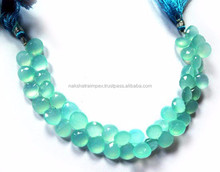 Electric Aqua Blue Chalcedony Heart Briolette Loose Beads