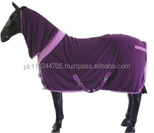 Horse Fleece Coolers LEMIEUX FLEECE HORSE STABLE TRAVEL SHOW SWEAT COOLER NECK COVER HOOD