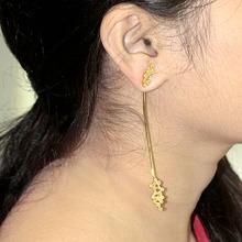 """18 K oro amarillo Natural Slice palo de diamante cuelga los pendientes moda Women """" s de joyería fina proveedor"""