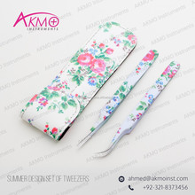 New Summer Designed Curved Eyelash Extension Tweezers with Magnetic Close Leather Case & Brand Logo