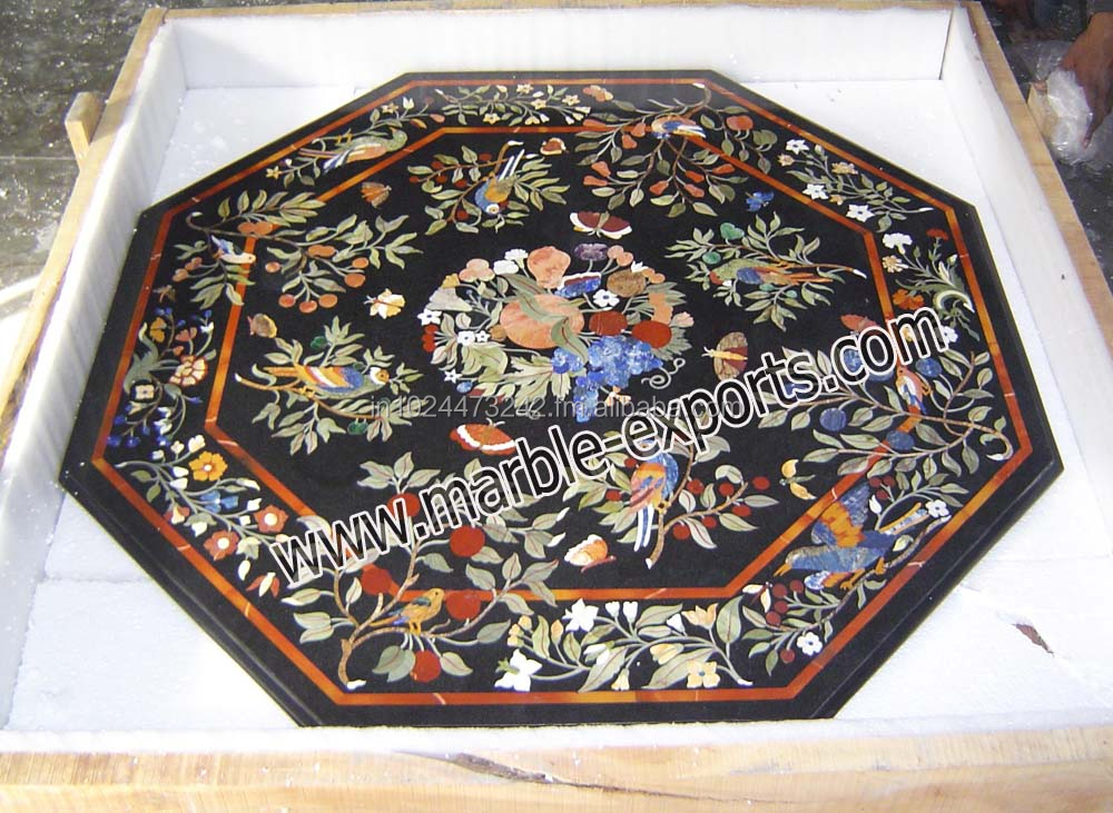 Marble Inlay Table Tops : Handmade octagon black marble inlay table top pietre dure