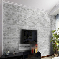 High Quality Home Decoration White Grey Textured 3D Brick Pattern Wallpaper Roll Wallpaper Home Improvement 10 * 0.53M