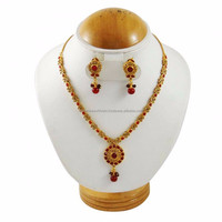 Traditional 18k Gold Plated Necklace Earring Set South Indian Wedding Jewellery