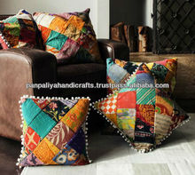 Handmade vintage kantha patchwork cushion covers-Indian old saree patchwork cushion cover
