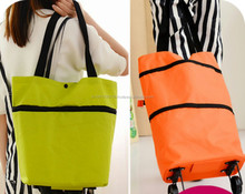 Fashion Japanese style foldable shopping bag with wheel