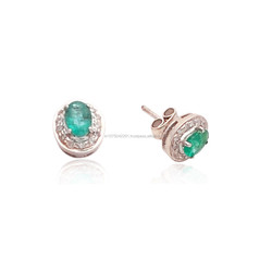 Sterling Silver Emerald and Diamond Stud setting Earrings
