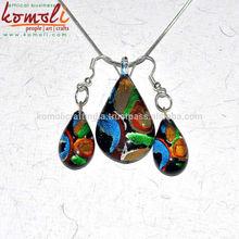 Lampworking murano joyas conjunto multicolores- hecho a mano de cristal colgante con pendientes