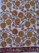 Yellow color flower design printed viscose fabric / Ladies & girls wear casual dresses & kurtis block printed fabric
