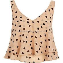 2015 Stylish Polka Dots Sleeveless Crop Top For Fashionable Women
