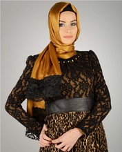 2015 New Style Exclusive High End Silk Looking Laced Hijab shawl 1118