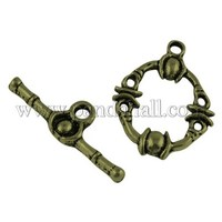 Alloy Bar & Ring Toggle Clasps, Flat Round, Antique Bronze, Lead Free & Nickle Free, 21x16mm, Hole: 2mm PALLOY-A11-2636-AB-FF