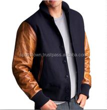 Custom plain Melton wool varsity jackets with Sheepskin Leather Sleeves manufactured by Pakistan