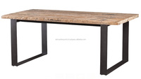 INDUSTRIAL OLD EDGE DINING TABLE , RECYCLE WOOD VINTAGE DINING TABLE WITH METAL BASE