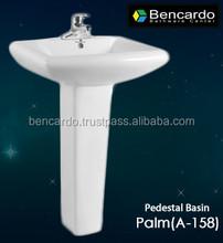 Sanitary ware - Pedestal Sink - Ceramic Wash Basin - Bathroom Sink - Pedestal Basin - Bencardo - A-158 - Palm