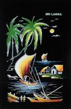 Sri Lanka (Ceylon) Handmade Glitter Canvas Art, Textile Art of Oil Painting Colorful Native Riverside Village