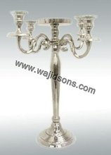 Aluminum Candelabra 5 lites and Silver finish aluminum polish five arms candelabra