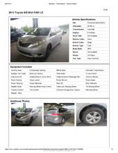 LHD Used 2013 Toyota Sienna LE 3.5L FWD [071515]