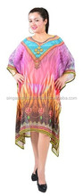 2015 Beautifully Beaded Beach Kaftan Top Dress For Stylish Women / Digital Animal Print / Free Size / Poly Georgette