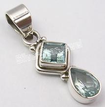 925 Sterling Silver Fabulous BLUE TOPAZ 2 Jewel Pendant 3.3 CM INDIAN JEWELLERS
