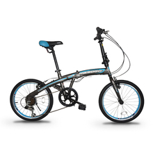 "ASOGO 20"" Folding Bike Foldable Bicycle Matte Brown with Blue"