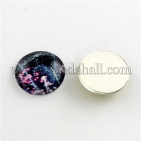 Galaxy Starry Sky Pattern Flatback Half Round Dome Glass Cabochons for DIY Projects, Violet, 15x4mm GGLA-R026-15mm-18H