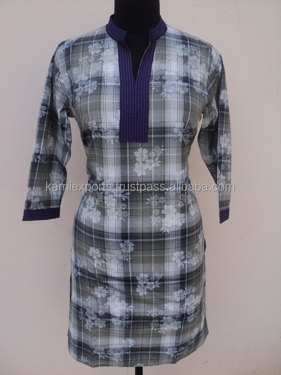 Beautiful floral printed check designs pattern tunics for New check designs