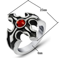 Rhinestone Stainless Steel Finger Ring 316L Stainless Steel Fire Cross different size for choice & with rhinestone & blacken 4-