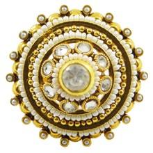 Indian Bollywood Goldtone Adjustable Kundan Ring Traditional Women Jewelry