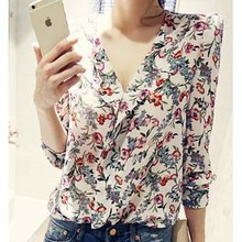 polyester 100% see-through style korea apparel flower pattern Clothes