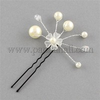 Wedding Bridal Decorative Hair Accessories, Iron Glass Flower Hair Forks, with ABS Acrylic Beads, White, 82mm